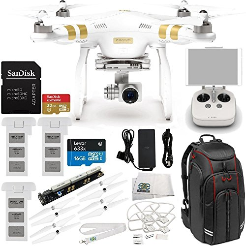DJI Phantom 3 Professional Quadcopter w/ 4K Camera, 3-Axis Gimbal & Manufacturer Accessories + 2 Extra DJI Batteries + Professional Video Equipment Backpack for DJI + MORE