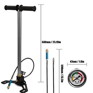 Large Pressure Gauge Foldable Base 40MPa 6000psi High Pressure PCP Car Bike Manual Air Pump Inflator with Oil-water Separator and 8mm Female Quick Connector (Tamaño: 1)