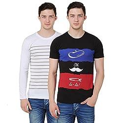 OMFG&CO Men's Cotton T-Shirt (Pack Of 2) (IM-M-T_13_Black Grey_Large)