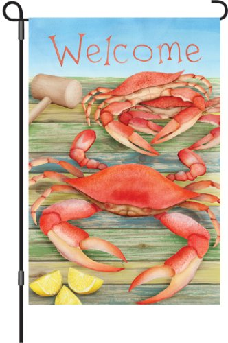 Premier 51052 Garden Illuminated Flag, Welcome Crabs, 12 by 18-Inch