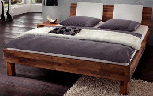 Holzbett Betten Nussbaum massiv geölt Nadja Breite 147 cm Tiefe 220 cm Liegefläche 140×200 Stütz-Steg Ohne Pharao24 jetzt bestellen