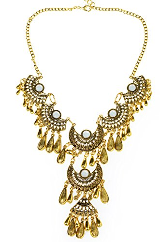 Btime Women European and American Style Crescent-shaped Vintage Inlaid Rhinestone Pendant Necklace Necklace(gold)