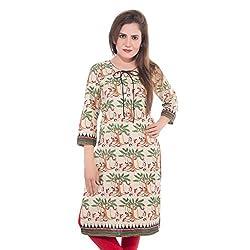 Lal Chhadi Women's Beige color 3/4 Sleeve Cotton Kurta with black Piepine