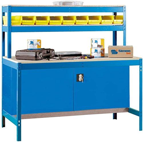 Werkbank-BT-1-900-Blau-Holz-Mae-144-x-90-x-75-cm-H-x-B-x-T-Traglast-400-kg-mit-Aufsatz-Werkzeugschrank-und-Lochwand