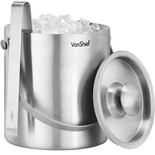 VonShef Seau à glace avec couvercle et anse - 2 litres - Pince Offerte
