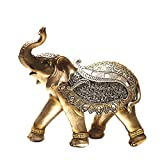 Home Decor feng shui elephant decorative showpiece (Polyresin, Gold) (Size in cm - 22*9*21 (l*b*h))