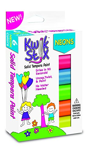 The Pencil Grip Kwik Stix NEON Solid Tempera Paint, Super Quick Drying, 6 Pack (TPG-610) (Neon Tempera Paint compare prices)