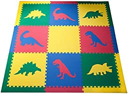 SoftTiles Dinosaur Jurassic Kids Interlocking Foam Play Mats with Sloped Edges Large 2\' Floor Tiles- 6.5\' x 6.5\' - Primary Colors