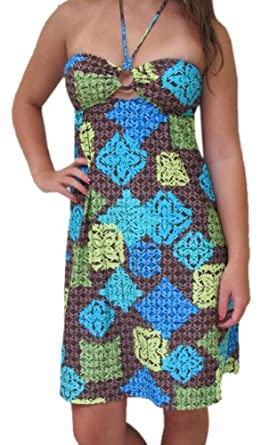 Toes on the Nose Women's Bandeau Dress,Tiki Blue,Small $8.97