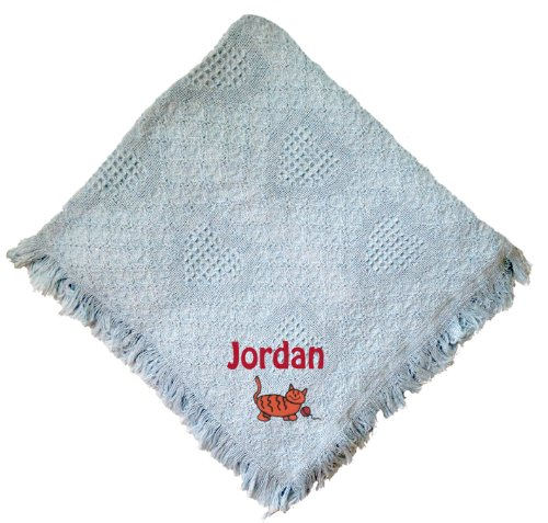 Kitty Blue 100% Cotton Custom Embroidered Personalized Baby Blanket Hot Pink Thread front-967493