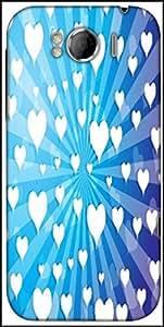 Snoogg Flying Hearts On Blue Background Designer Protective Back Case Cover For HTC Sensation Xl
