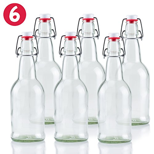 16 oz Glass Beer Bottles for Home Brewing 6 Pack with Flip Caps (Heavy Duty Beer Glasses compare prices)