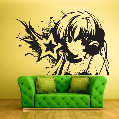 Wall Vinyl Sticker Decals Decor Art Bedroom Design Mural Design Anime Girl Star Music (Z427) front-14443