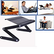 Easily Adjustable Portable Folding Aluminum Laptop Notebook PC Table Desk Tray