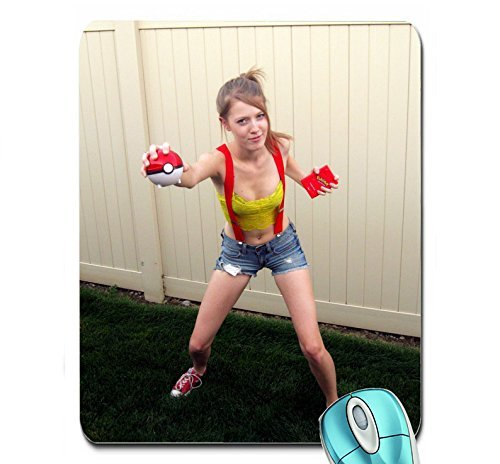 cosplay fences poke balls grass shoes misty pokemon suspenders sneakers shorts denim shorts exposed Wallpaper mouse pad computer mousepad