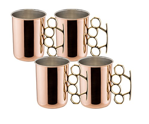 Old Dutch Brass Knuckle Moscow Mule Coffee Mug, 20-Ounce, Set of 4