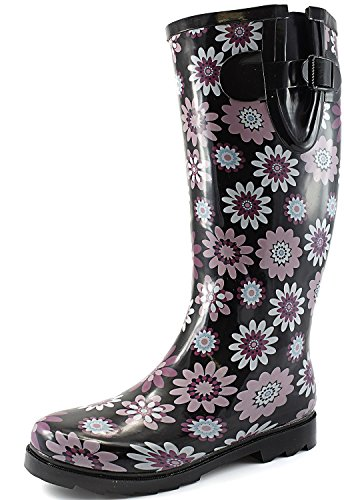 Women's Puddles Rain and Snow Boot Multi Color Mid Calf Knee High Rainboots,Purple Daisy 11 B(M) US (Rain Boots Women Size 11 compare prices)