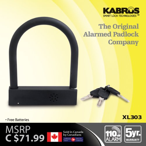 Kabrus Alarmed U Lock / Alarm D Lock / Alarmed Lock for Securing Bike / Scooters / Motorcycle / Motorbike Helmets / trailer security / Securing Bicycles / Caravan Security / Securing Trailers