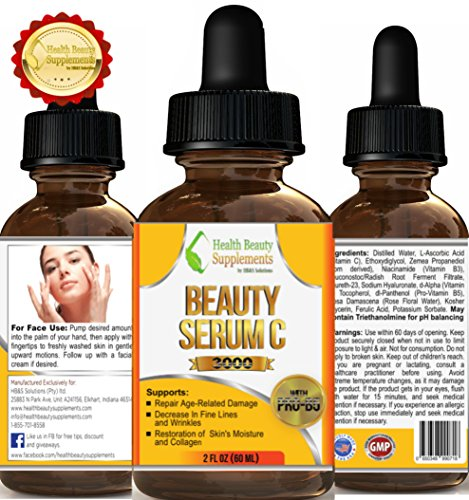 ** BEAUTY SERUM WITH VITAMIN E & C **With Ferulic Acid Best Anti Wrinkle Beauty Serum – Under The Eye – Face And Skin Treatment – Anti Aging Serum