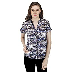 Women's Printed Blue Shirt, Short Sleeves, Trendy/Styish/Smart/Casual Top/Shirt Wear for Women and Girls, Blue