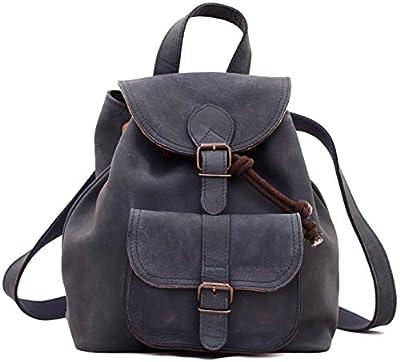 Paul Marius LE BAROUDEUR Bleu Pétrole petit sac à dos en cuir couleur style vintage