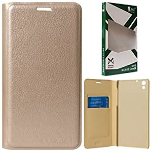 DMG Dotted Finish Premium PU Leather Flip Cover Case for Reliance LYF Water 1 (Gold)
