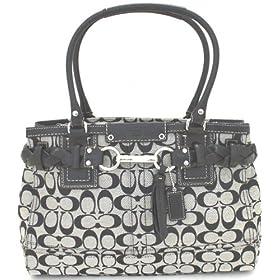 Coach Hamptons Large Signature Carryall Handbag - 13068 (Black & White)