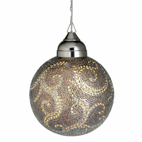 Silver Scroll Pattern Round Lamp with Amber Glass Beads