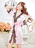 Plus Size Sexy Satin Pink Lace Lingerie Sleepwear Nightwear Robe G-string Babydoll Nightdress