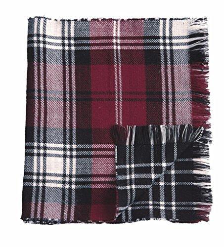 Mud Pie Knit Plaid Blanket Reversible Scarf (Burgundy) (Mud Pie Scarves compare prices)