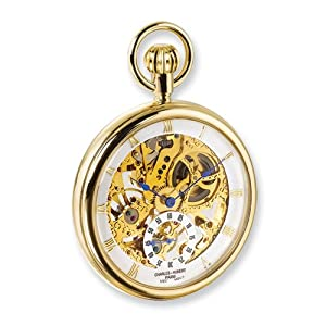 Ip-plated Full Skeleton Dial Pocket Watch by Charles Hubert Paris Watches, Best Quality Free Gift Box Satisfaction Guaranteed