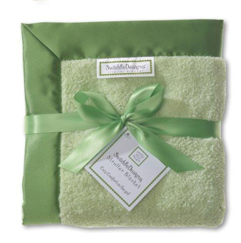 SwaddleDesigns Stroller Blanket, Jewel Tone Trim, Pure Green