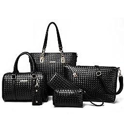 Itscosy Clutch Handbags for Women 6 Piece Set Bag Handbag and Purse (Model 2-Black)