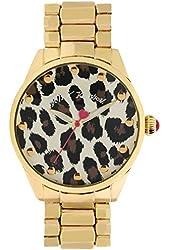 Betsey Johnson Women's Gold-Tone Leopard Face Bracelet Watch 40mm BJ00421-02