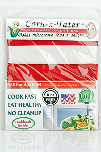 Corn-N-Tater Microwave Cooking Bag (Red With White Band)