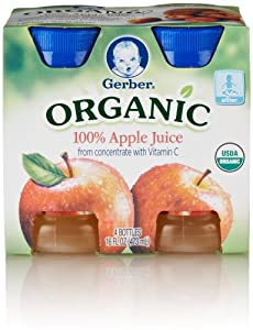 Gerber Organic Juice Apple, 4-Count, 4-Ounce Bottles