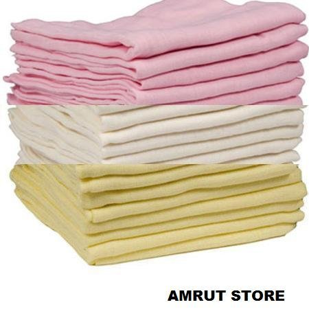 12-x-PINKCREAM-AND-YELLOW-MUSLIN-SQUARES-100-COTTON70x70CMSUPER-SOFT