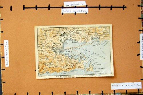 1913 MAPPA RIVIERA ITALIA SPEZIA LERICI ISOLA PALMARIA