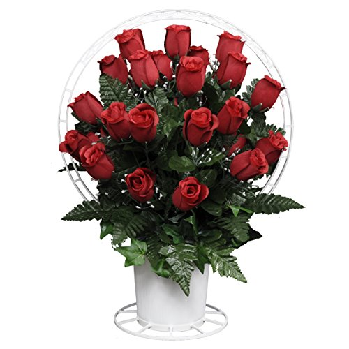 Red Roses with Babys Breath Silk Flower Basket by Sympathy Silks® (BA1562) (Funeral Flowers With Basket Stand compare prices)