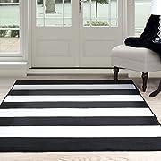 Lavish Home Breton Stripe Area Rug, 5 by 77, Black/White