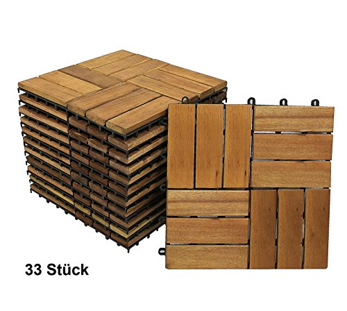 sam terrassenfliese 02 aus akazien holz 33er spar set f r 3 m garten fliese mit 12 latten. Black Bedroom Furniture Sets. Home Design Ideas
