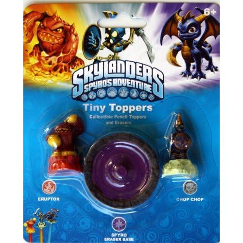 Amazon.com: Skylanders Tiny Toppers Erasers: Eruptor, Spyro & Chop