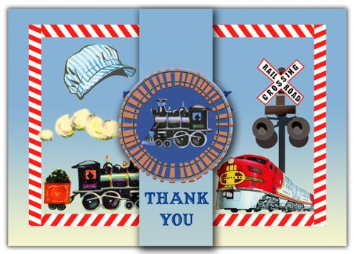 Dolce Mia Trains Thank You Card - Pack of 10 - 1