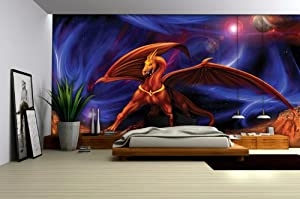 Wallpaper mural 39 39 dragon 39 39 fleece photo for Dragon mural wallpaper