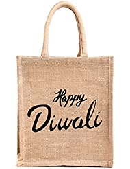 Diwali Gift/corporate Gifts, Printed Jute Bag,specially Design For Diwali Gifting (Gift Bag,Medium Size, Height...