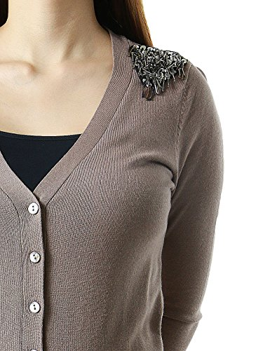Shoulder Embellished Frontal Pockets Button Up Women's Cardigan Sweater (MEDIUM, MOCHA-HSW1048)
