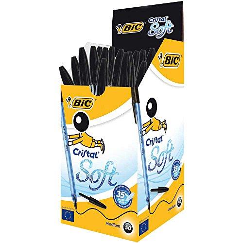 bic-cristal-soft-stylo-bille-non-retractable-noir-boite-de-50