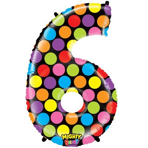 """Number Six Mighty Bright Polka Dot Megaloon 40"""" Mylar Foil Balloon"""