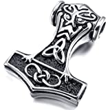 MunkiMix Stainless Steel Pendant Necklace Silver Thors Hammer Irish Celtic Knot Triquetra Amulet Vintage Men ,23 inch Chain