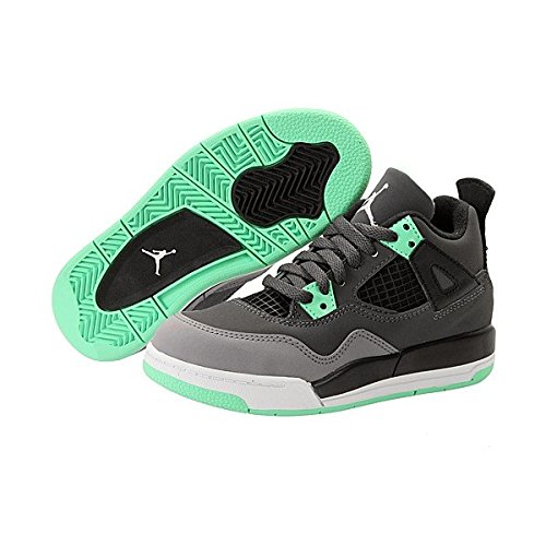 best authentic hot sale the latest Nike Air Jordan 4 Retro Pre-School Kids Shoes Grey/Black/Green ...